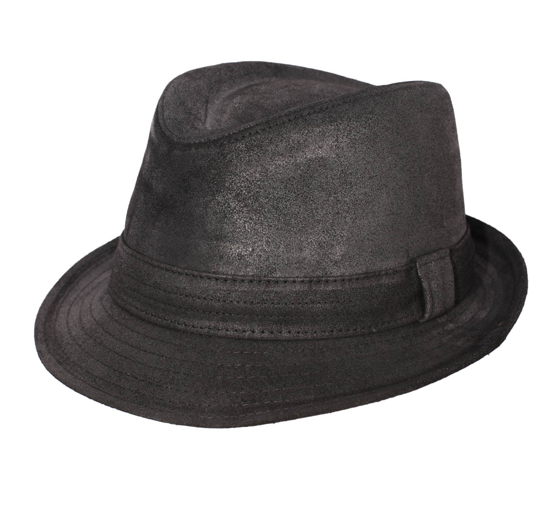 chapeau trilby cuir homme classic trilby cuir vieilli noir. Black Bedroom Furniture Sets. Home Design Ideas