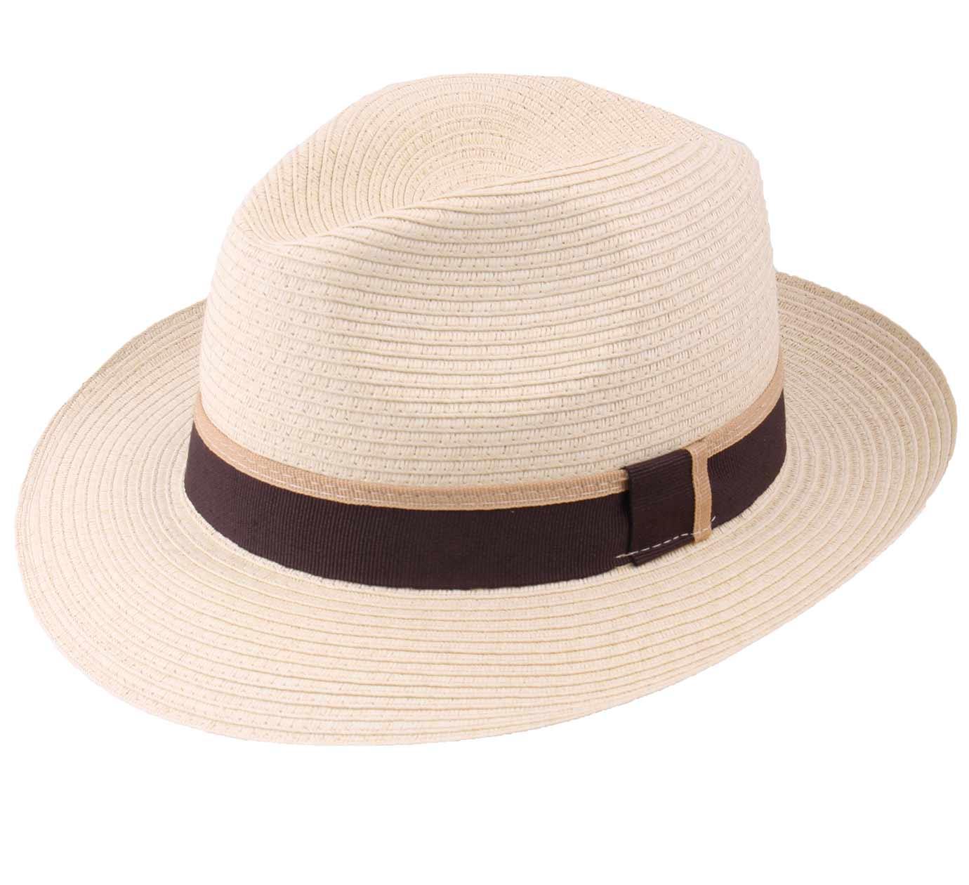 Chapeau panama homme ou femme Classic Paille Large creme-marron